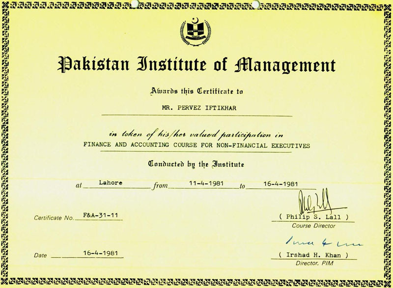 Financial Management Course Certificate