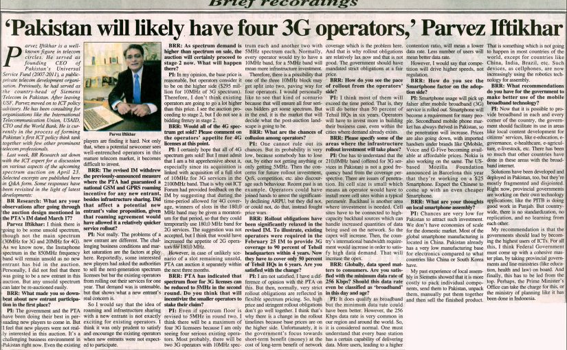 Business Recorder- Pakistan will likely have four 4G operators