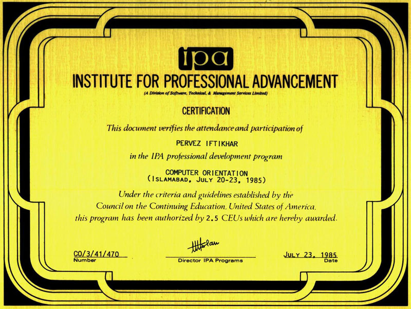 Certificates Parvez Iftikhar International Ict Consultant