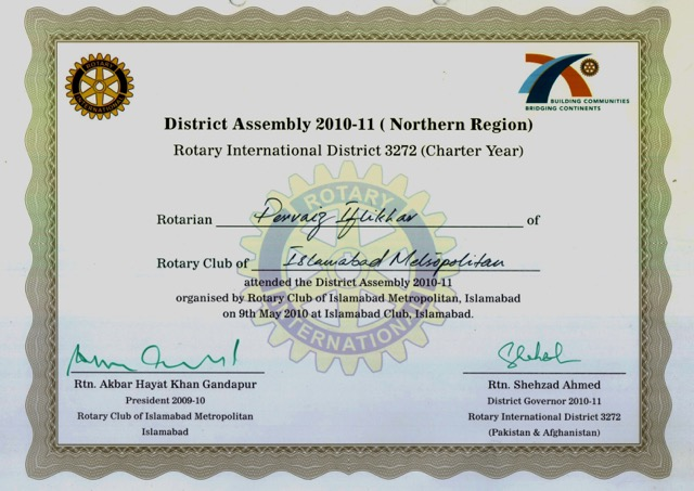 Certificates parvez iftikhar for Rotary certificate of appreciation template