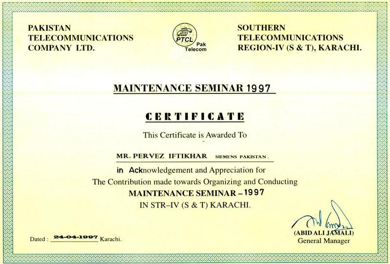 Certificates Parvez Iftikhar