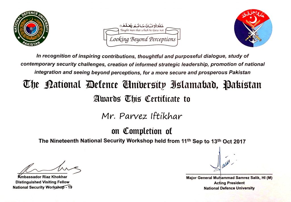 Certificates parvez iftikhar international ict consultant national defence university workshop certificate islamabad pakistan yelopaper
