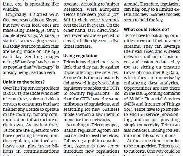 The Express Tribune – Competing with free OTT services is a tall order, 4-Jul-2016