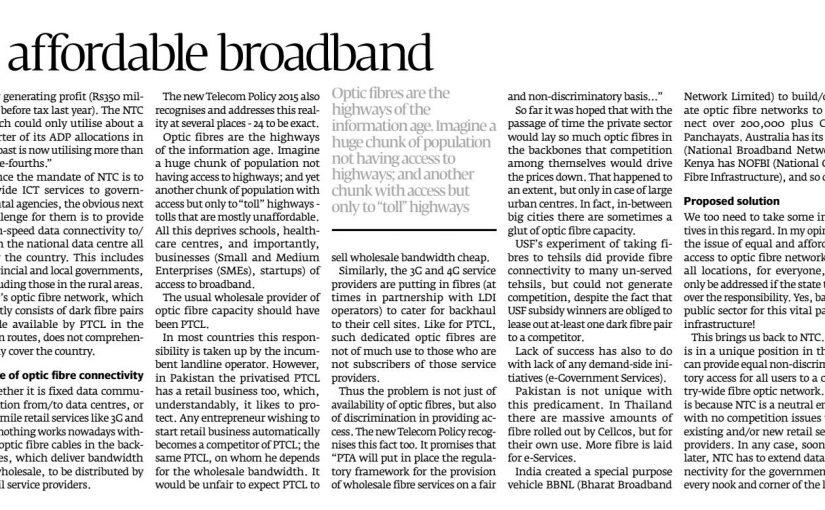 The Express Tribune -Nationwide public network providing affordable broadband, 29-Aug-2016