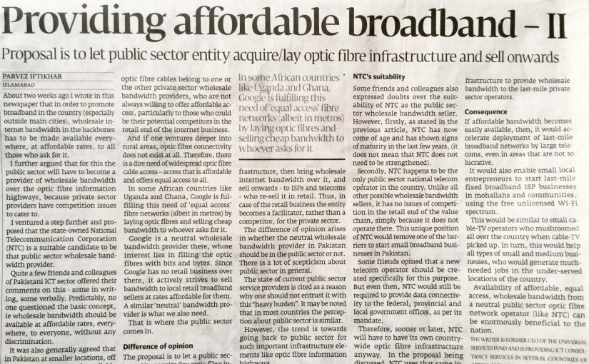 The Express Tribune – Providing affordable broadband -II, 11-Sep-2016