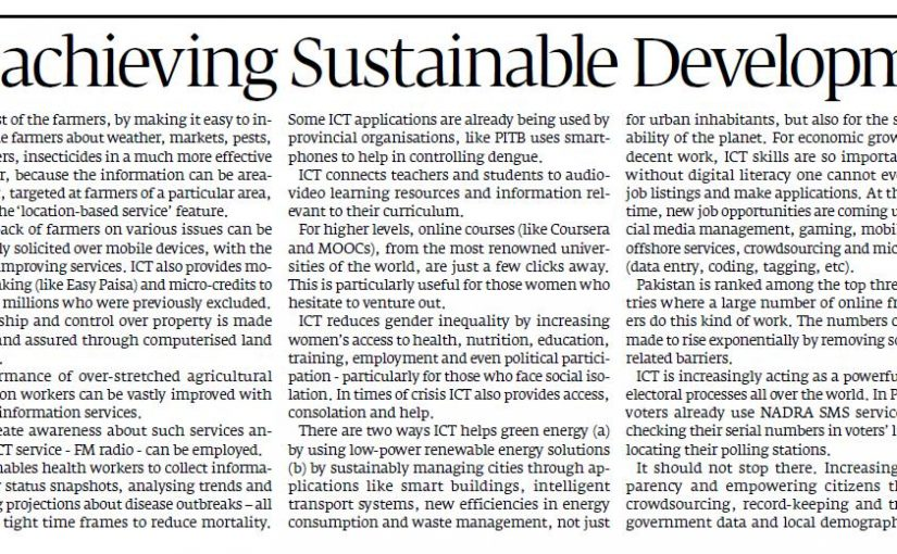 The Express Tribune – Role of ICT in achieving Sustainable Development Goals, 11-Dec-2016