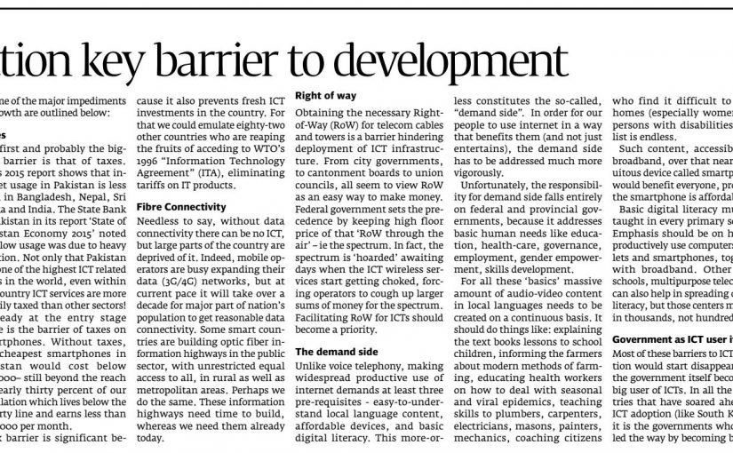 The Express Tribune – High taxation key barrier to development, 02-Jan-2017