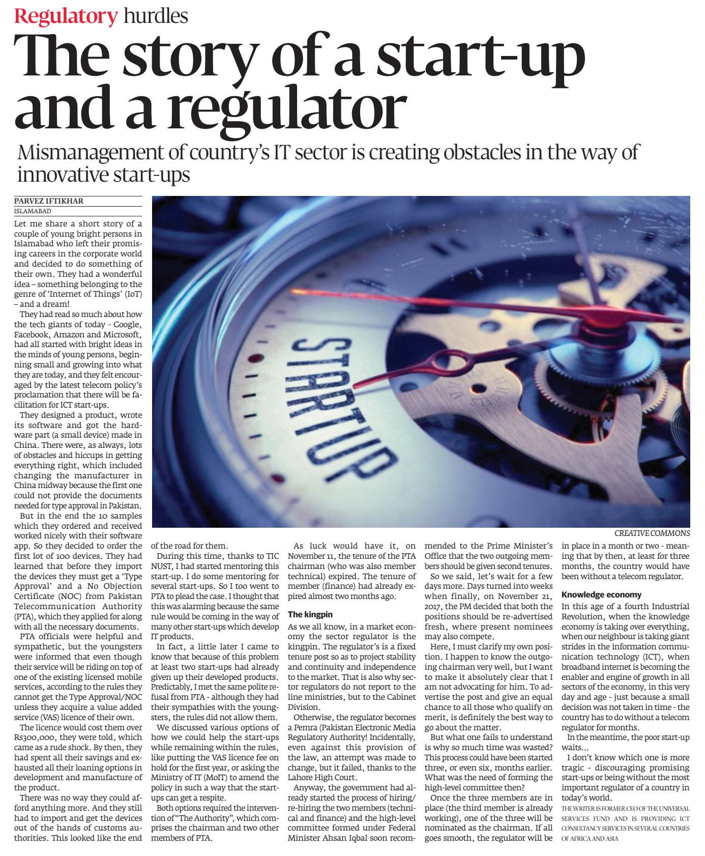 PI- Express Tribune -The Story of a startup & a regulator 25dec17