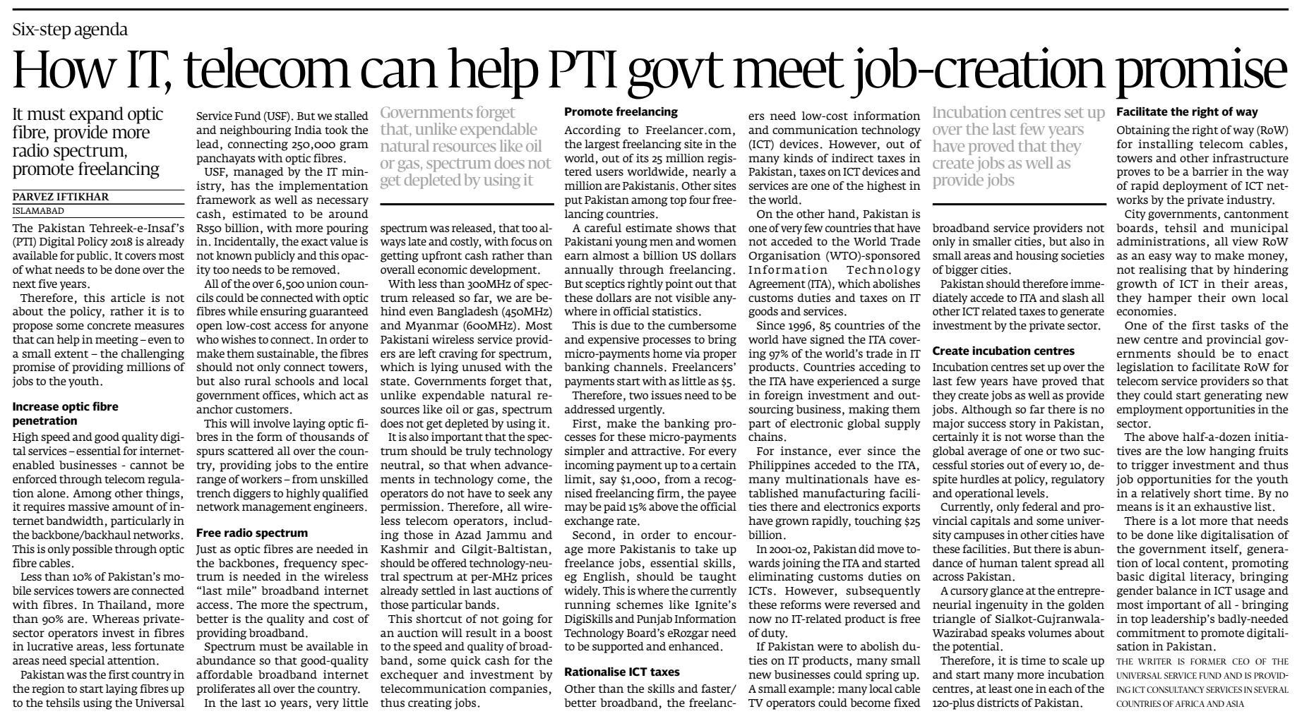How IT, telecom can help PTA govt meet job-creation promise