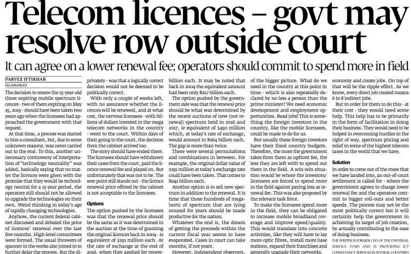 The Express Tribune: Telecom licences – govt may resolve row outside court, 13 May 2019