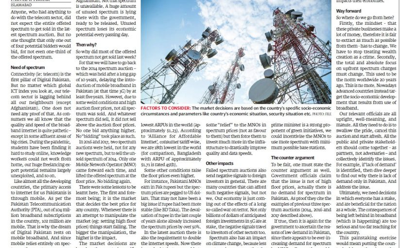 The Express Tribune: Lessons to take from spectrum auction, 13 September 2021