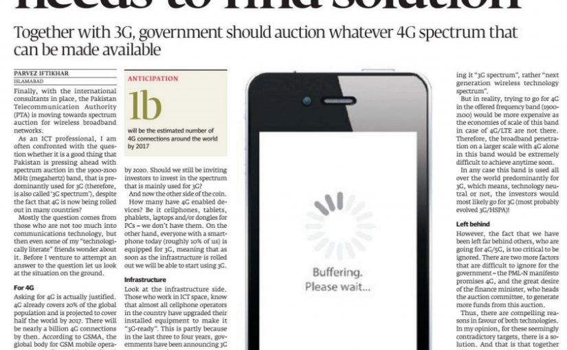 The Express Tribune – Full Spectrum 3G, 4G or 5G – country needs to find solution