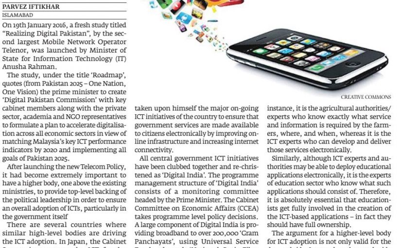 The Express Tribune -Roadmap to realise Pakistan's digital potential, 01-Feb-2016