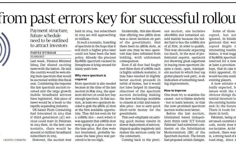The Express Tribune – Learning from past errors key for successful rollout, 21-Sep-2015