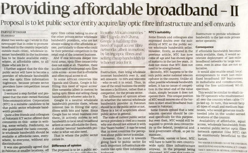 The Express Tribune – Providing affordable broadband -II, 11-Sep-2016