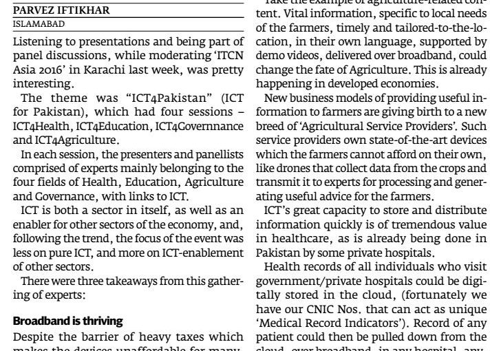 The Express Tribune – ICT adoption – a must for all sectors, 03-Oct-2016