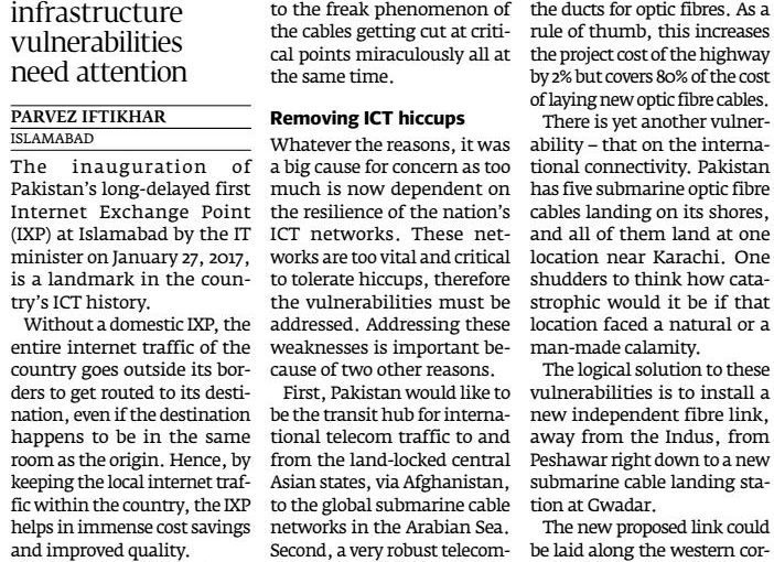 The Express Tribune: Pakistan's first Internet Exchange Point needs to be lauded, 29-Jan-2017