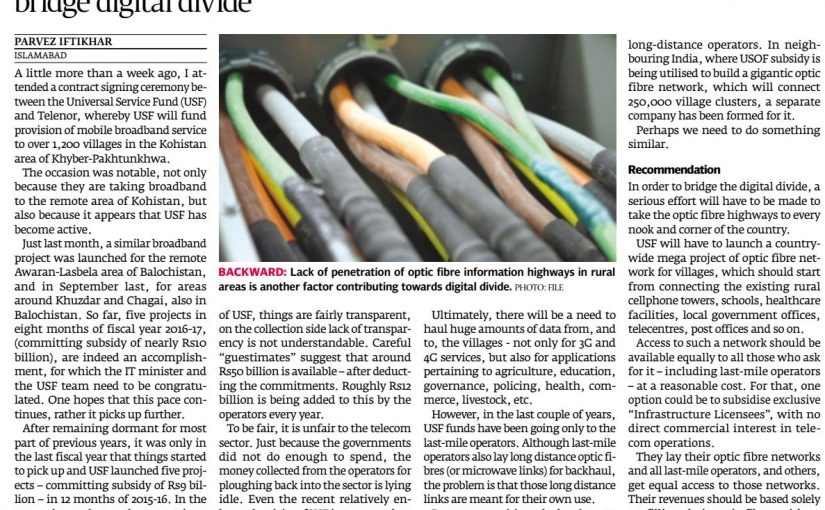 The Express Tribune: How about an optic fibre mega project? 06-Mar-2017