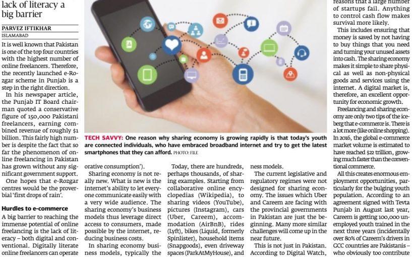 The Express Tribune: Online freelancing grows in Pakistan, earning reach $1b, 10-April-2017