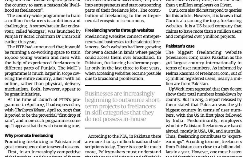 The Express Tribune: Pakistan's freelancing industry is thriving, 30 October 2017