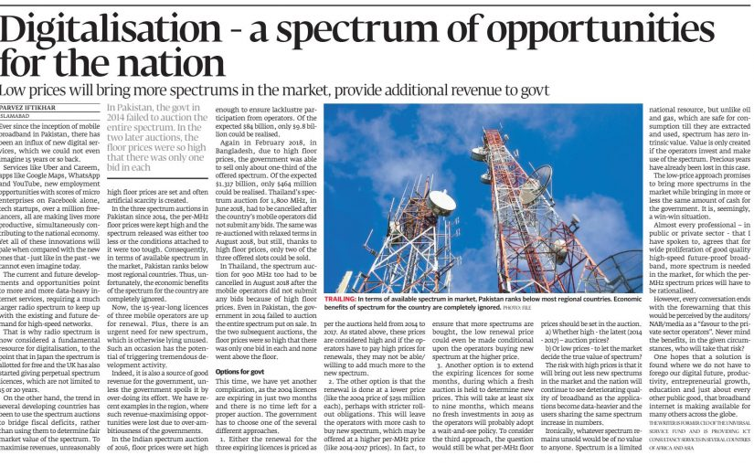 The Express Tribune: Digitalization – a spectrum of opportunities for the nation, 25 February 2019