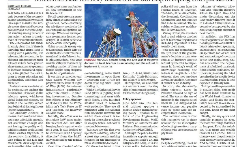 The Express Tribune: Wasted year for telecom sector, 28 December 2020